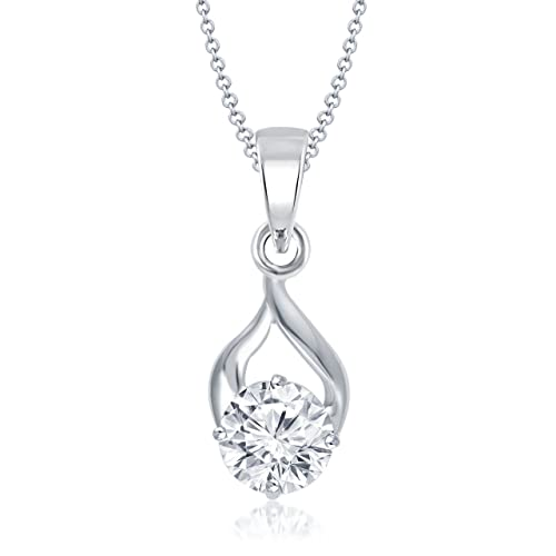 MEENAZ Jewellery Silver Pendant for Girls with Chain Solitaire Pendants for Women in American Diamond Crystal Jewellery Set for Women-Chain Pendant 119