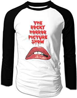 Creamfly Mens The Rocky Horror Picture Show Lips Long Sleeve Raglan Baseball Tshirt