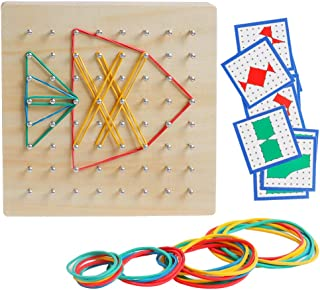 kizh Wooden Geoboard Mathematical Manipulative Material Graphical Educational Toys Array Block Geo Board with 24 Pcs Pattern Cards and Rubber Bands STEM Puzzle Matrix 8x8 Brain Teaser Toys
