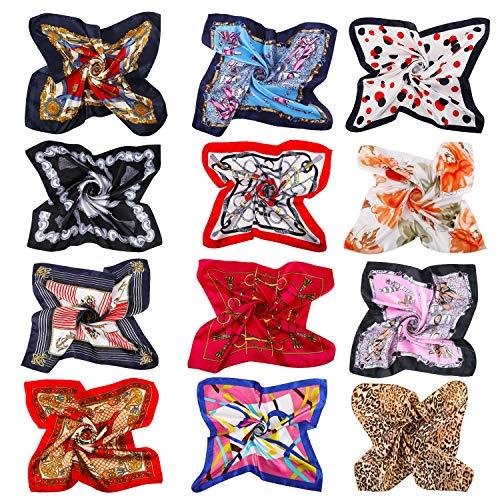 AYPOW 12 Pañuelo de Seda Cuadrado para Mujer,Bandanas cuadradas de seda mixtas,...