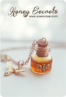 Collana bottiglia di miele. collana del flaconcino di miele. Pendente della bottiglia di vetro. miniatura collana, collana...
