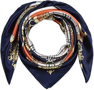35 بوصة مربع للنساء من الحرير شعور الأوشحة وشاح الرأس للنوم العميق الجزر البرتقالي أكسفورد الأزرق شبكة ومخارز