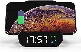 c7a48565edd Mengen88 Altavoz Cargador inalámbrico, multifunción Reloj Despertador  portátil inalámbrico Puerto USB de Carga Compatible con