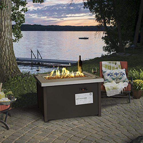 Barton Outdoor Propane Gas Fire Pit Patio Garden...