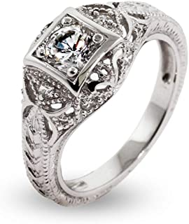 Women's Sterling Silver CZ Vintage Deco Style Engagement Ring, Sizes 5 to 9