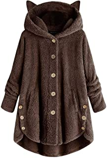 Forthery-Women Hooded Faux Fur Coats Long Teddy Bear Jacket Button Fluffy Pullover Loose Sweater