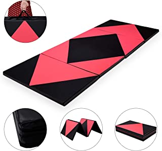 Giantex Gymnastics Mat, 4'x10'x2 Extra Thick Anti-Tear Folding Gymnastics Exercise Mat w/Carrying Handles and Velcro, Panel Mats for Gymnastics, Exercise, Aerobics, MMA, Stretching