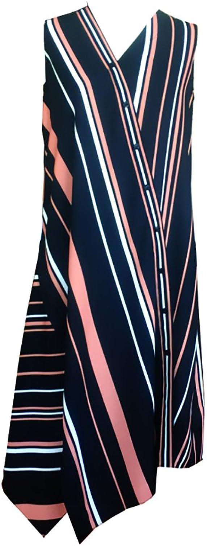 CG Women greenical Stripe Lapel Sleeveless Long Dress Button Done Summer Shirt Dress 864C198