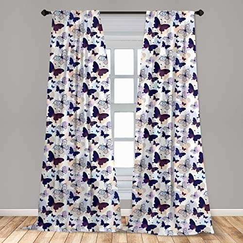 Ambesonne Butterfly Curtains 2 Panel Set, Silhouettes and with Swirled Curly Wings on Pastel Color Blots, Lightweight Window Treatment Living Room Bedroom Decor, 56' x 84', Multicolor
