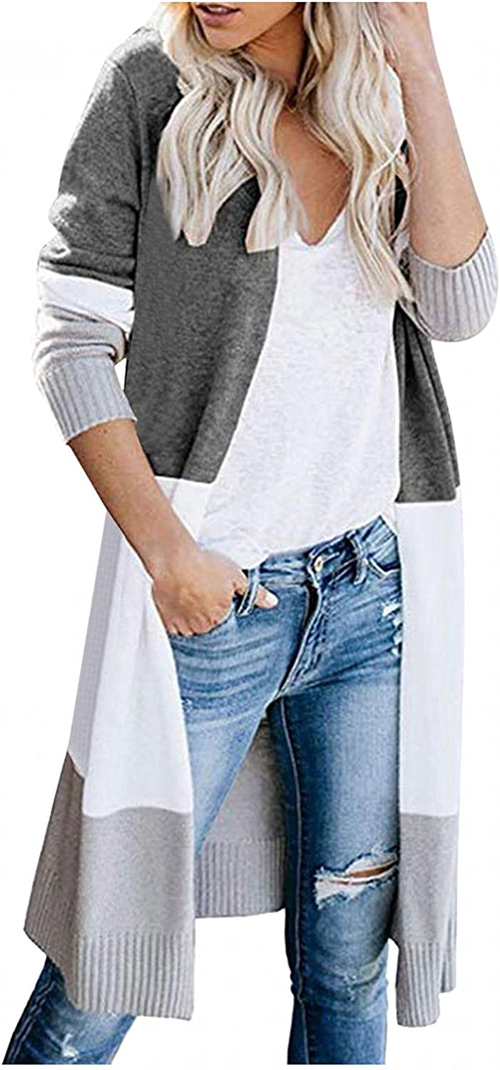 Aukbays Womens Cardigan Sweaters, Women's Casual Striped Open Front Cardigans Color Block Knit Loose Long Outwear Coat