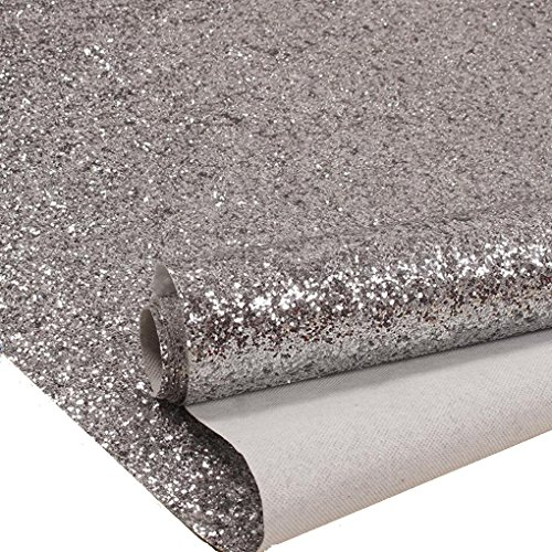 Silver Chunky Glitter Wallpaper Sample, Sparkly Glitter Fabric Wall Paper,Bling Wallcovering (6' x 6' Sample)