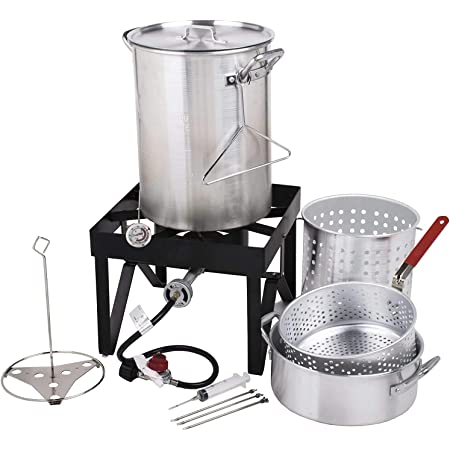 COLIBROX Backyard Pro Deluxe 30 qt Aluminum Turkey Fryer Steamer Kit   55000 BTU Cast Iron Liquid Burner   for Barbecues Fair Clam Bake Pot Heavy Duty 20lbs Capacity   Ideal for Outdoor Propane Coo