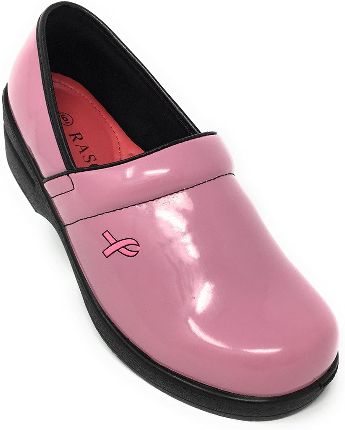 Rasolli Women's Professional Closed Back Clogs, Pink Breast Cancer Awareness Ribbon