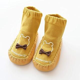 TZOU Newborn Babies Cartoon Imitation Shoes with Leather Bottom Stereo Baby Socks 0-3 Years Old Yellow 13cm