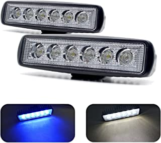 Jiawill Dual Color Marine LED Spreader Flood Deck Light for Boat White Housing (Pack of 2) DC 9~32V with 316L Stainless Steel Bracket
