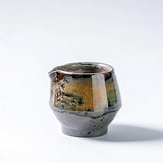 Jarra de leche de cerámica rústica hecha a mano, recipiente para salsera, decoración del hogar, esmalte marrón gris oscuro...