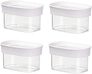 Emsa 4er Set Stapelbare Vorratsdose für Trockenvorräte, Volumen 0.18 Liter, Rechteckig, Weiß/Transparent, Optima 513554 x 4