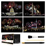 Scratch & Sketch Art Paper(A4) for Kids & Adults, Rainbow Painting Night View Scratchboard...