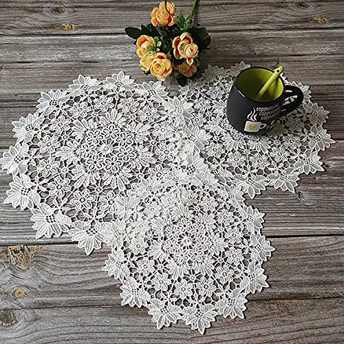 Yulakes 3 Stück weiße Spitze Runde Stickerei Tisch Tischset ,Handarbeit Geklöppelt Spitzendeckchen Baumwolle Placemat Blume Matte,Spitzendeckchen Häkeldeckchen Tischdecke 25cm/30cm/36cm