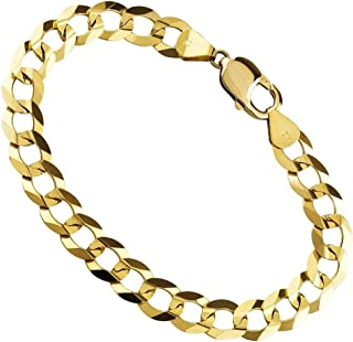 18K Yellow Gold 6.5MM Thick Hollow Curb/Cuban Chain Bracelet Or Necklace-Made in Italy
