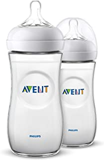 Philips Avent Natural Baby Bottle for 6m+ Babies with Fast Flow Teat, BPA Free, 330ml, 2 Bottles, SCF036/27