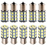 Everbrightt 10-Pack White S25 5050 1156 BA15S / 1141 Base 27SMD LED Replacement Bulb For RV Camper SUV MPV Car Turn Signal Bulb Tail Light Lamp Backup Lamps Bulbs High LUMS DC 12V
