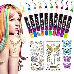 Haarkreide für Mädchen, Nivlan 10 Stück Haarfarbe Kamm, Temporär Haarfarbe Kreide Kamm für Kinder Haarfärbemittel, Party und Cosplay