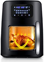 12.4Qt XL Air Fryer Oven with Large Viewing Window, 12-in-1 Programmable Electric Hot Deep Fryer Combine with Food Dehydrator, LED Touchscreen, 7-Piece Accessories, Rotisserie, Auto Stirring - 1700W