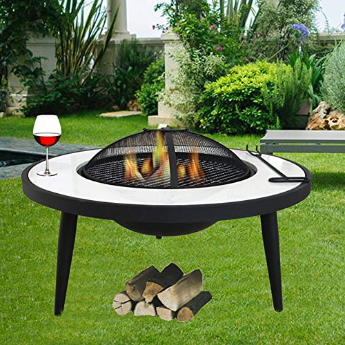 FMXYMC Garden Fireplace Table, Large Fire Pit Table, 30' L x 30' W x 17' H, with/Deep Fire Bowl/Net Cover/Chrome Grilled Wire Mesh/Black Charcoal Tray