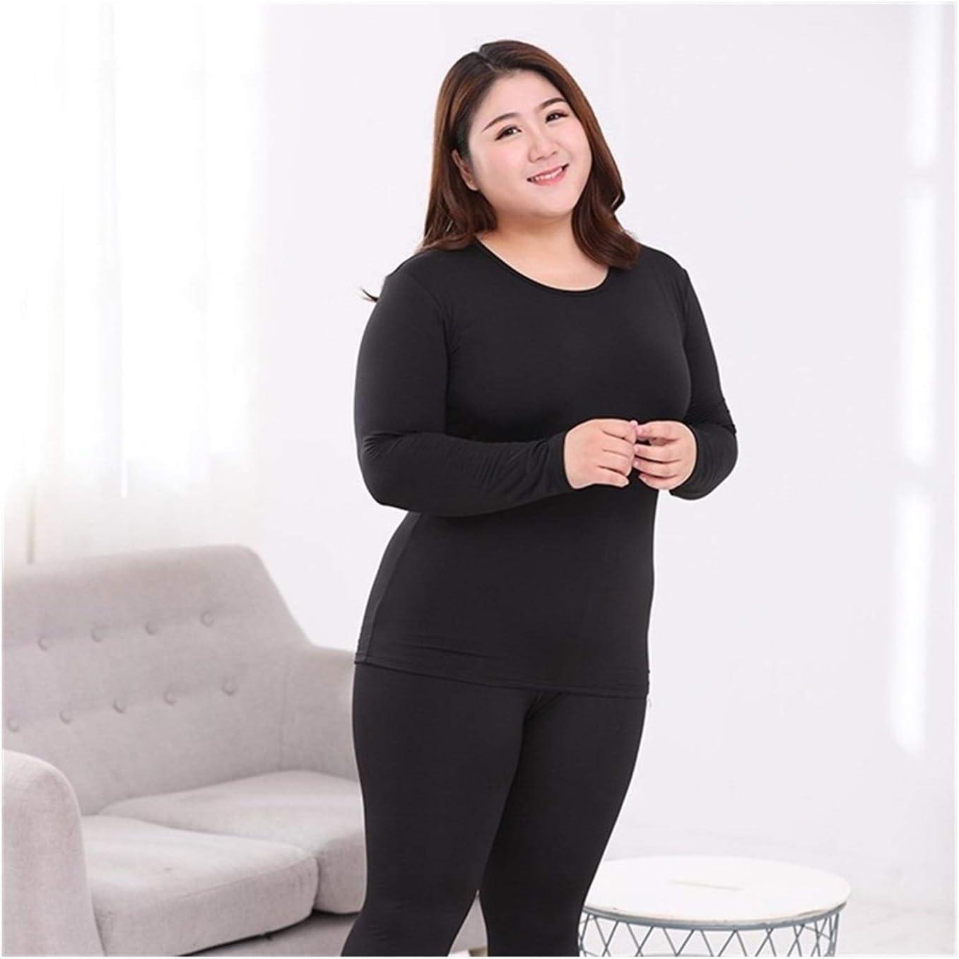 QWERBAM Plus Size Women Thermal Underwear Suits Fiber Super Elas