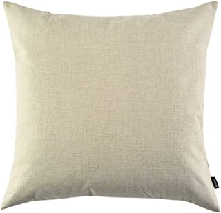 Artcest Decorative Burlap Linen Throw Pillow Cover for Sofa Couch and Bed, 24x24, Floral White, Pack of 1