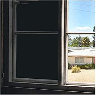 Soqool Blackout Window Film 100% Light Blocking Window Blackout Film- Black Tint for Room Darkening Nap Time/Privacy/Sunlight Control, No Glue Easy Reuse/Removal/Install (35.4