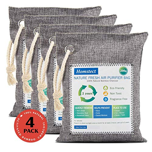 Homstect Bamboo Charcoal Air Purifying Bag, Nature Fresh Air Purifier Bags, Car Air Purifier, Shoe/Closet Freshener, 4Pack x 200g Activated Charcoal Bags, Odor Absorber for Shoes/Car/Pets/Closet etc