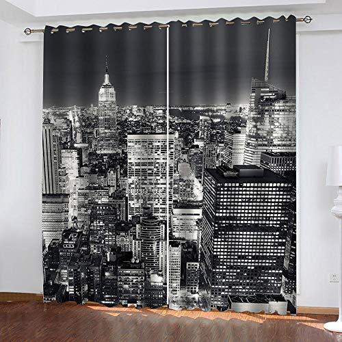 Bbaodan 3D Cortinas Opacas de Ojales, 2 Panel con Térmicas Aislantes Insonorizantes para salón Dormitorio y habitación Ventanas Grey New York City 2Panneau L70 x H260cm