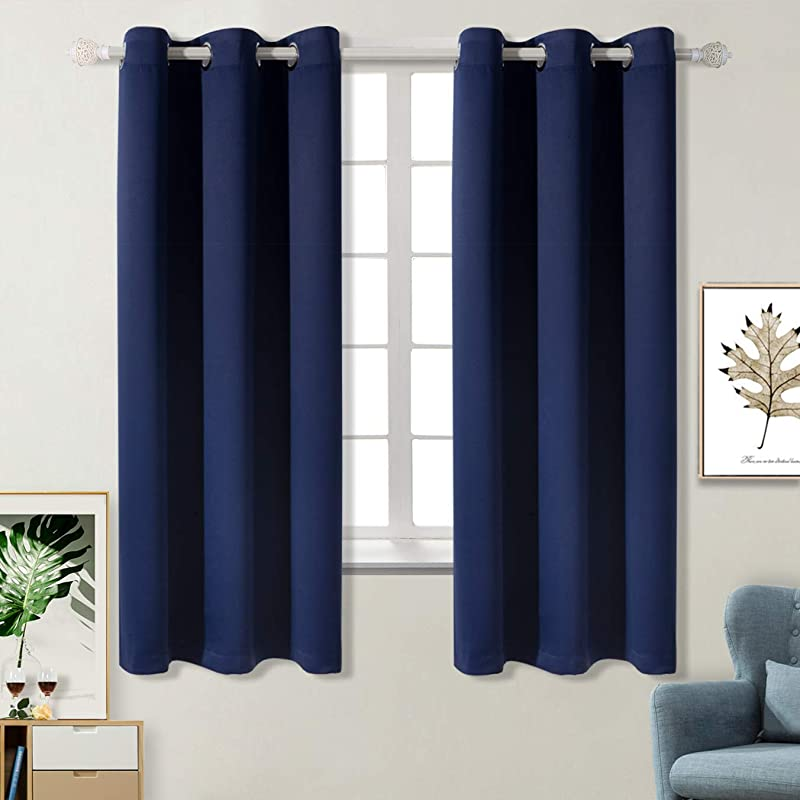 BGment Blackout Curtains For Bedroom Grommet Thermal Insulated Room Darkening Curtains For Living Room Set Of 2 Panels 42 X 63 Inch Navy Blue