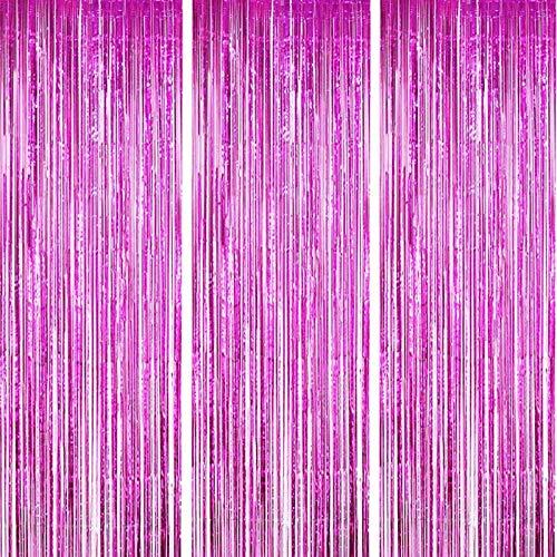 ONUPGO Paquete de 3 cortinas de papel de aluminio fucsia de 1 m x 3 m, cortinas metálicas con flecos para fotomatón de fondo,...
