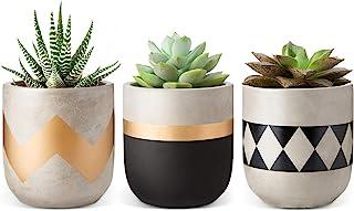 Mkono Cement Succulent Planter Set of 3 Concrete Plant Pots Modern Flower Pots Indoor for..