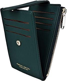 EASTVIO Slim Wallet for Women RFID Blocking Small Credit Card Holder Bifold Zipper Money Case with 2 ID Windows,Dark Green