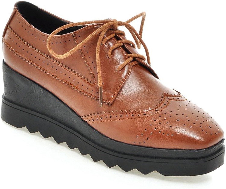 AIWEIYi Womens shoes Classic Lace Up Dress Low Flat Heel Oxford Black
