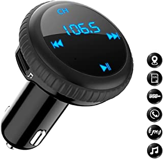 Bluetooth FM Transmitter with Smart Locator, Bligli Car Charger Car Kit with 3.4A USB Charging Ports, Built-in Mic, Supports Hands-Free Call, Last Call Redial, 32G TF Card/U-Disk Music Playback