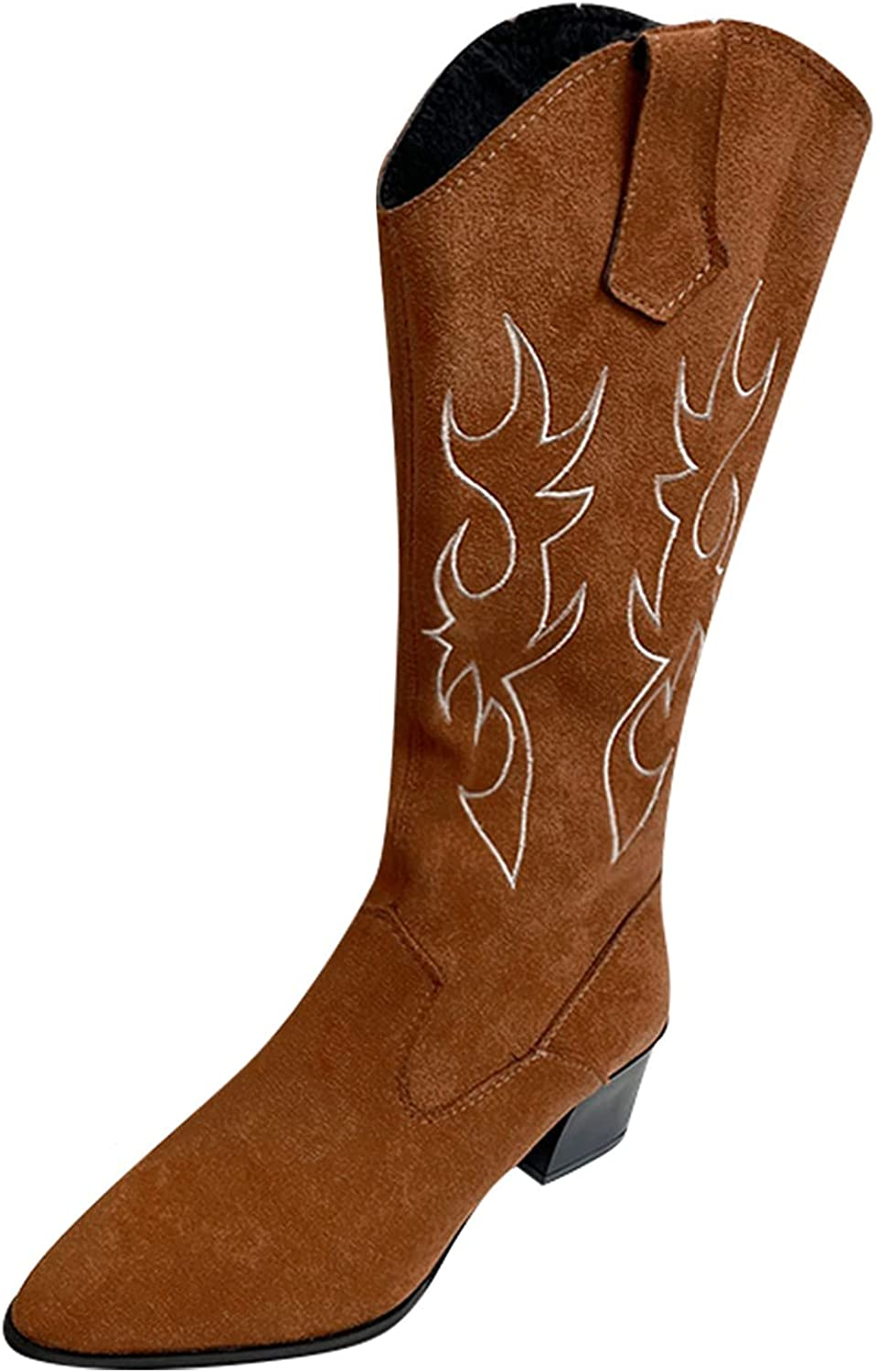Yuekarel Mid Calf Boots Faux Fur Chelsea Boots Chunky Heels Embr