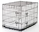 """Lucky Dog Training Crate 2DR with Pad, 36"""", Black"""
