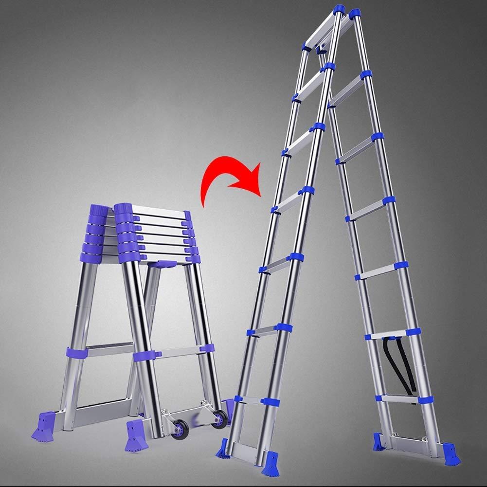 LHF Escaleras Telescópicas, Escalera Telescópica Plegable de Aluminio para Ingeniería, Escalera Telescópica Profesional de Servicio Pesado para Loft Doméstico, Capacidad de 330 lb,1,45 m / 4.8ft: Amazon.es: Bricolaje y herramientas
