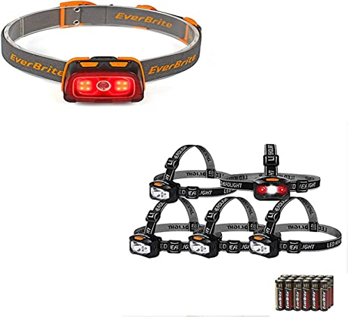 discount EverBrite discount Headlamp - 300 Lumens Headlight with Red/Green Light and Tail Light, 7 Lighting Modes+ 5-Pack Headlamp LED 150 Lumens Battery Operated Super Bright with 2 Red Lights AAA Batteries online sale Included outlet online sale