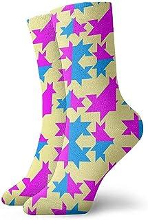 Kevin-Shop, Calcetines Tobilleros Triangulares Azules y púrpuras Calcetines Casuales y acogedores para Hombres, Mujeres, niños