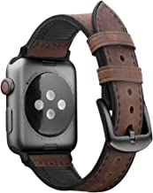 Oitom Leather Silicone Sports XXL XL Band Compatible with Apple Watch 42mm 44mm, Hybrid Sweatproof Replacement Straps Compatible with iWatch Series 4 3 2 1 Men (L/XL/XXL Retro Brown)