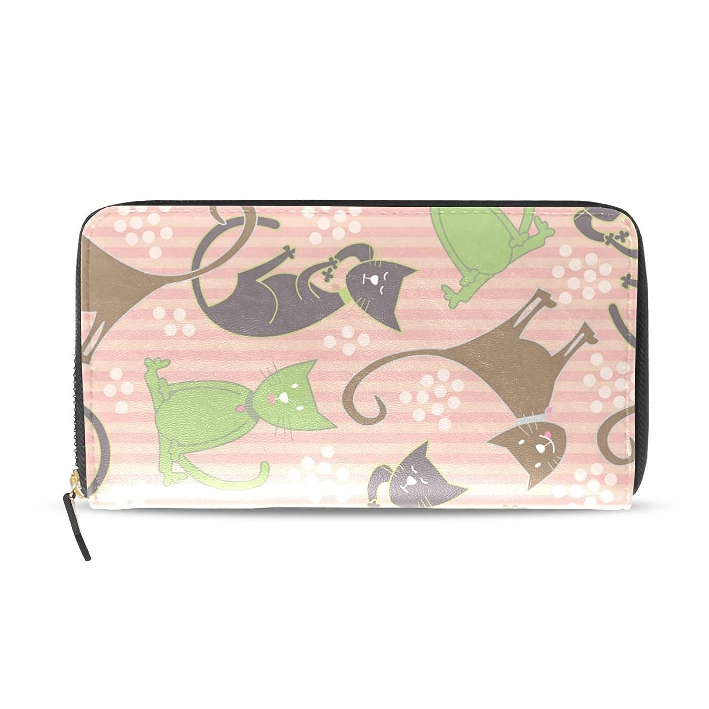 債務者ペックオークマキク(MAKIKU) 財布 レディース 長財布 猫モチーフ 可愛い ピンク 革 大容量 ラウンドファスナー ウォレット PUレザー コインケース カード12枚収納 プレゼント対応