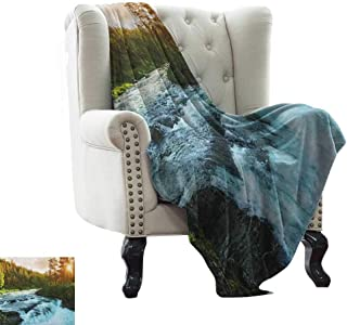 Throw Blanket for Couch European,River in Norway Sunrise Sunbeams Through Pine Trees Springtime Scenic, Baby Blue Apple Green Flannel Blankets Made with Plush Microfiber 70