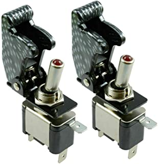 12V Toggle Switch SPST ON-OFF Type Switch Aircraft Missile Flip Up Cover Car White&Carbon Pack of 2