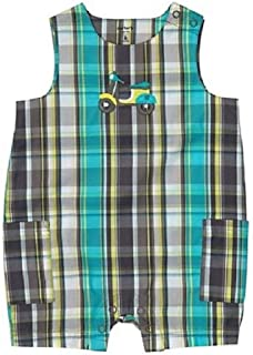 Baby Boys Blue Plaid Romper Scooter 6 Months
